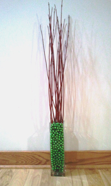 I Then Put The Dogwood Tips In A Square Vase Dry Next Filled With Green Sparkly Foam
